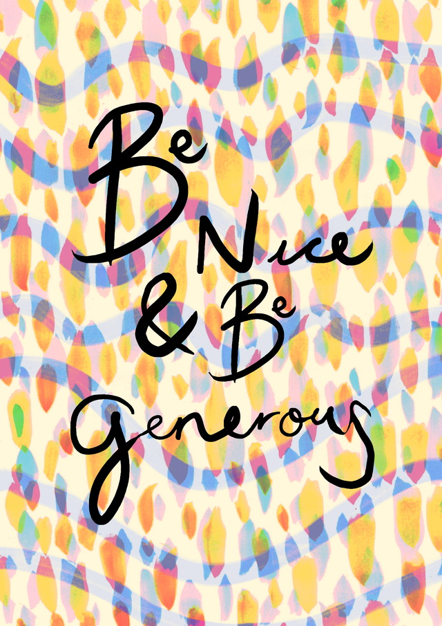 be nice and be generous illustration