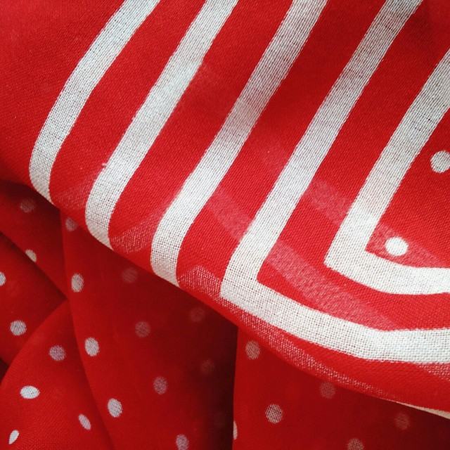 polka dot and striped red scarf